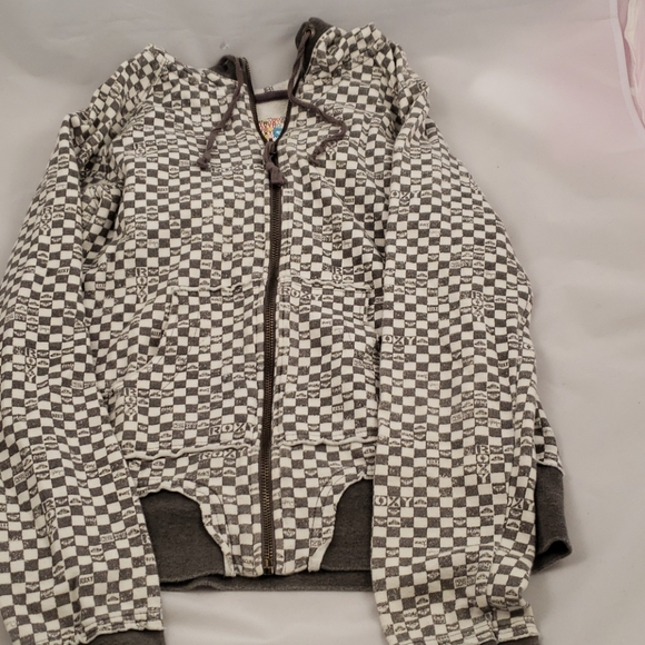 Roxy Tops - Roxy zip up hoody gray and white size M